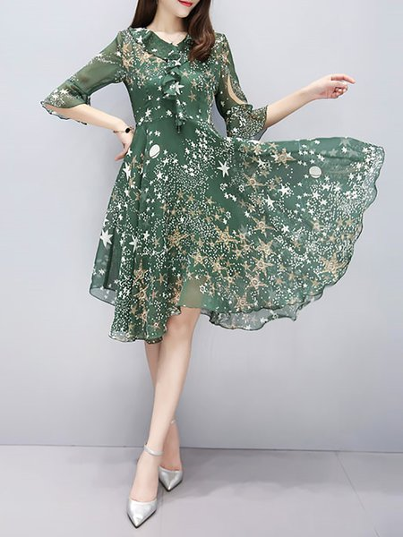 Green Women Print Dress V neck Swing Daily Frill Sleeve Chiffon Dress