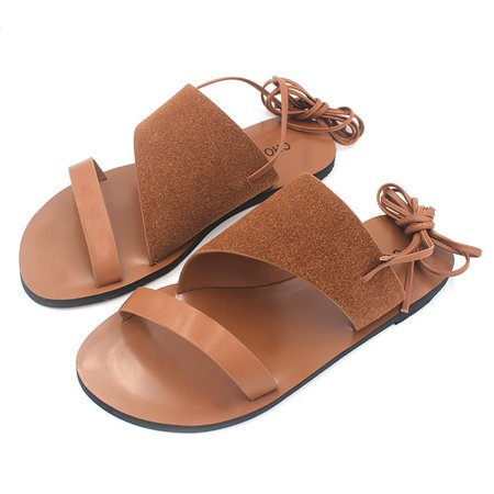 Flat Heel Lace-up Casual Sandals
