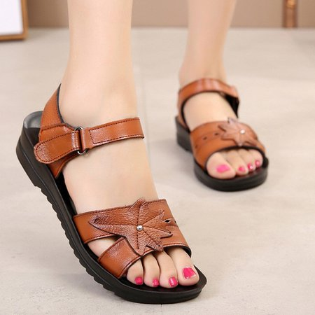 Flat Heel Magic Tape Casual Leather Sandals