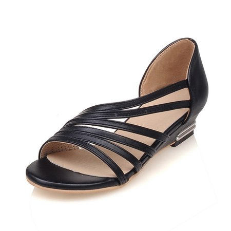 Large Size Peep Toe Wedge Casual Sandals