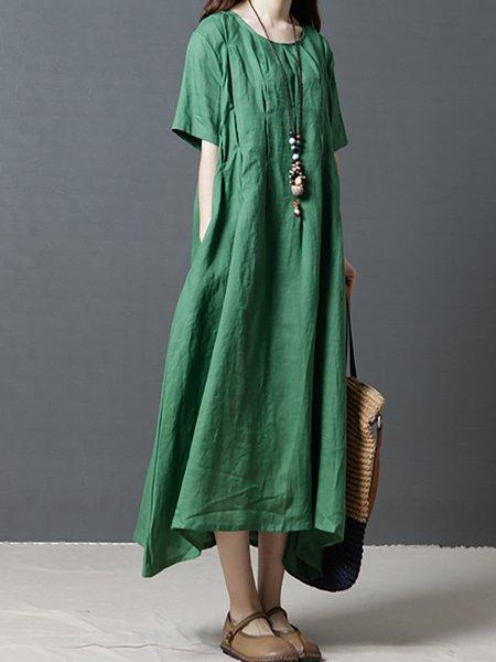 A-line Short Sleeve Paneled Casual Dresses