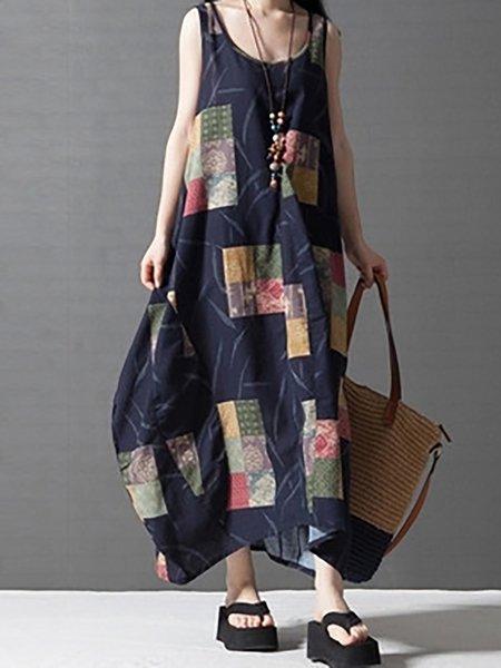Blue Women Print Dress Crew Neck Cocoon Daily Sleeveless Linen Dress