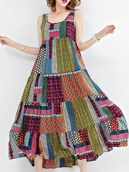 Green Crew Neck Swing Print Dresses