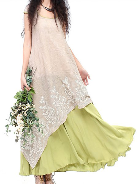 Vintage Floral Embroidered Two Layers Long Maxi Dresses