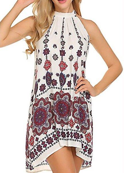 Women Print Dress A-line Daily Sleeveless Floral Dress