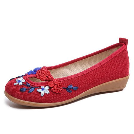 Slip On Flat Heel Casual Floral Embroidered Shoes