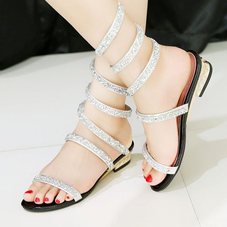 Casual Rhinestone Summer Daily PU Sandals
