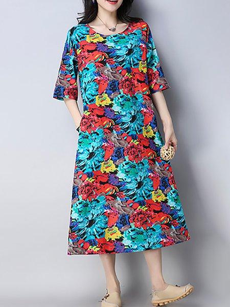 Printed A-line Half Sleeve Print Dresses