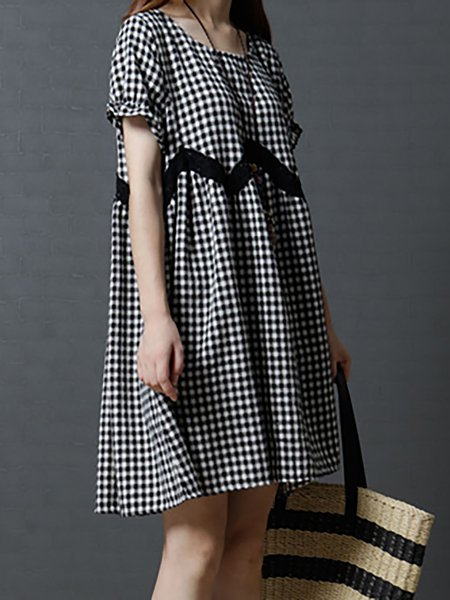 Black-white  Crew Neck Plaid Casual Dresses