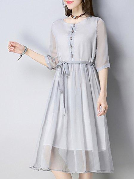 Gray Chiffon 3/4 Sleeve Elegant Dresses