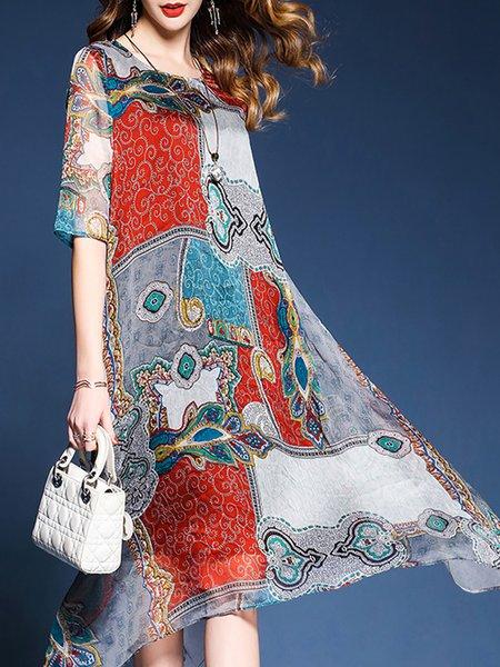 A-line Paneled Chiffon Half Sleeve Print Dresses