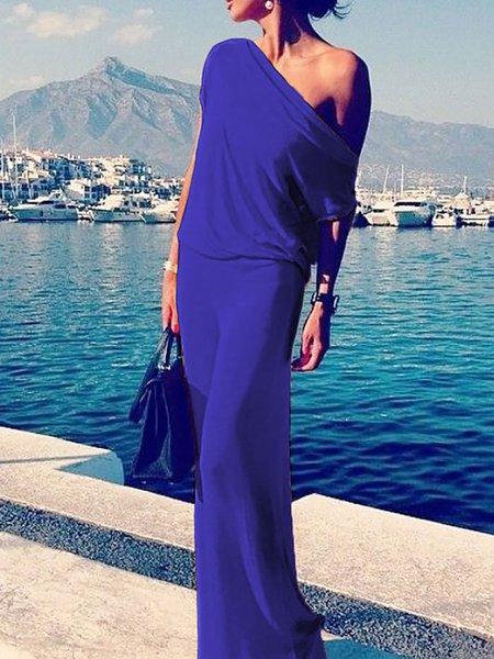 Women Prom Dress One Shoulder Sheath Evening Single Sleeve Elegant Dress