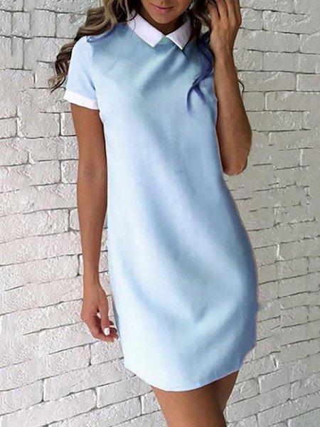 Shawl Collar Short Sleeve Sheath Casual Dresses