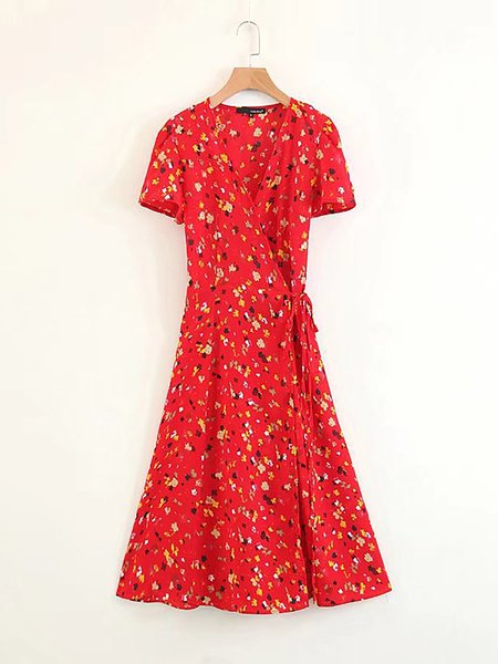 Red V neck A-line Drawcord  Short Sleeve Print Dresses