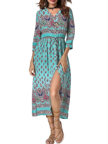 Boho Paneled V neck Half Sleeve Print Dresses