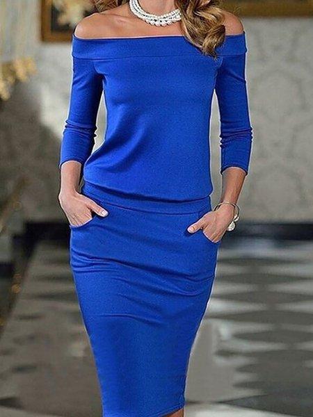 Women Elegant Dress Off Shoulder Bodycon Elegant Paneled Dress