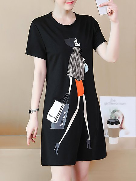 Women Casual Dress Crew Neck Shift Going out Paneled Abstract Dress