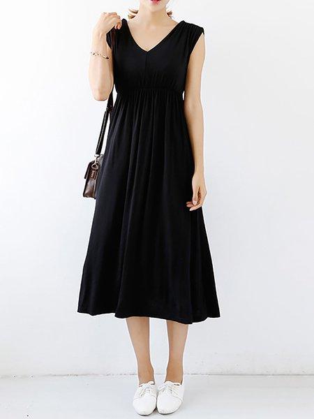 Modal Swing V neck Sleeveless Casual Dresses
