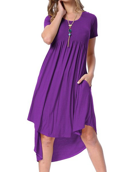Folds High Low Crew Neck Casual Dresses