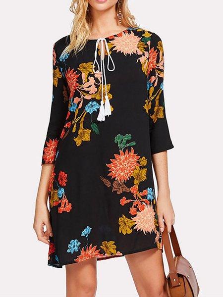 Black Women Print Dress Shift Daytime 3/4 Sleeve Cotton Dress