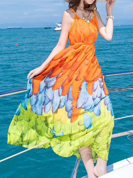 Sleeveless Chiffon Boho Swing Print Dresses