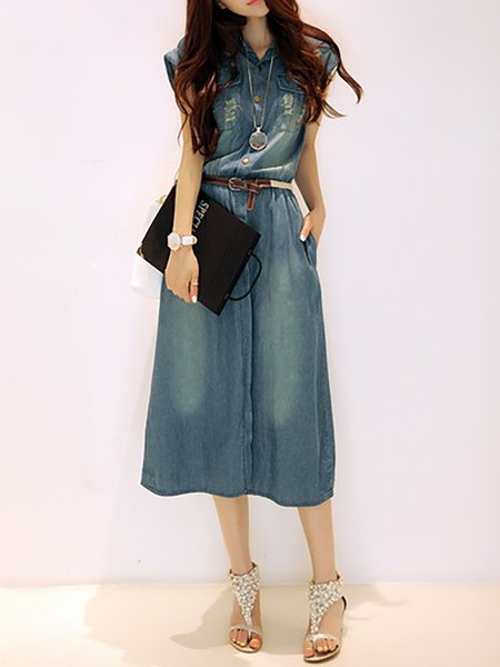 Shawl Collar Sleeveless Casual Dresses
