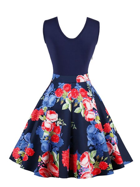 Casual Crew Neck Sleeveless Print Dresses