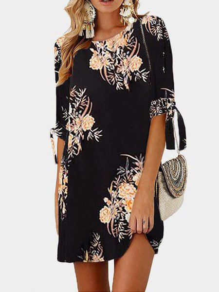 Casual Half Sleeve Chiffon Print Dresses
