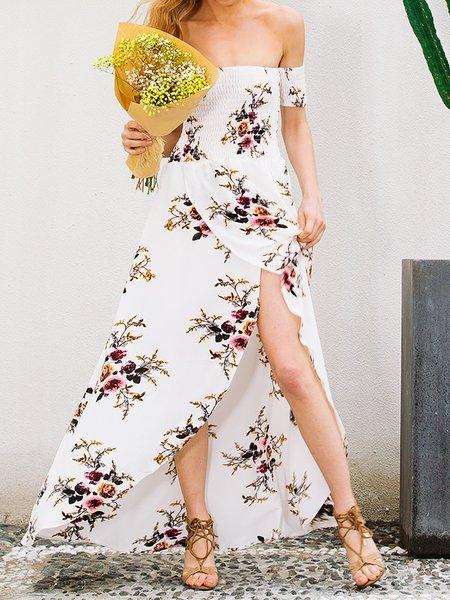 Casual Off Shoulder Beach Print Dresses