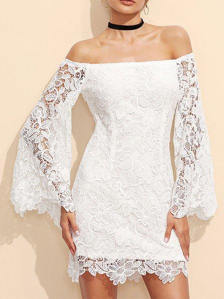 White Shift Off Shoulder Lace Prom Dresses