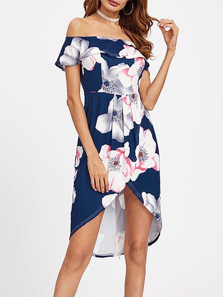 High Low Off Shoulder Printed Prom Dresses