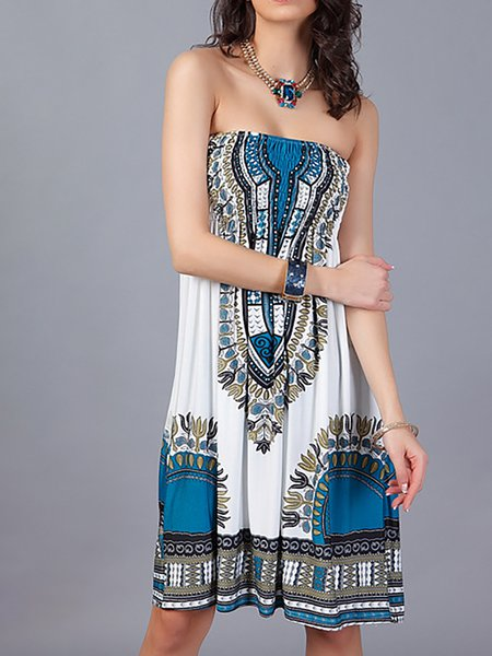 Blue Women Print Dress Off Shoulder A-line Club Casual Paneled Dress