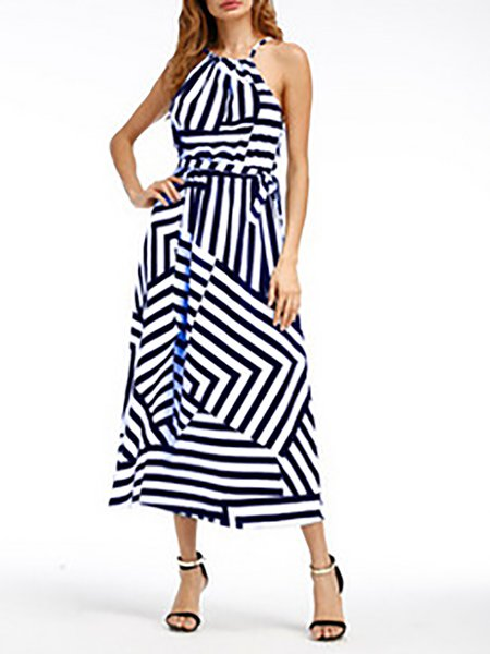Sleeveless Halter Stripes Casual Dresses