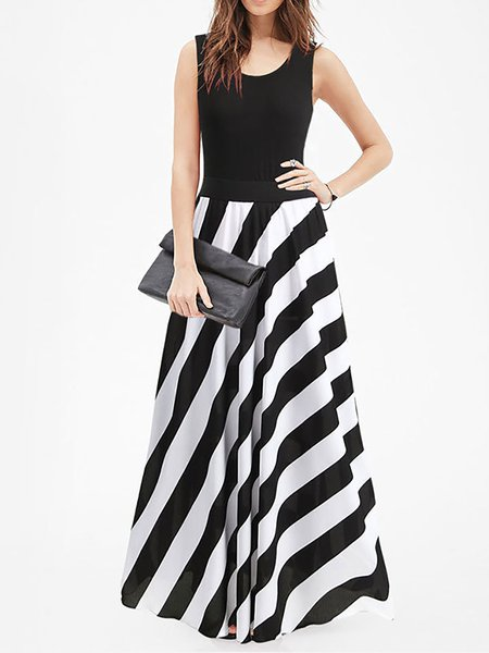 Black-white Women Prom Dress Swing Cocktail Sleeveless Striped Dress