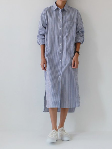 Blue Stripes Printed  Shawl Collar Casual Dresses