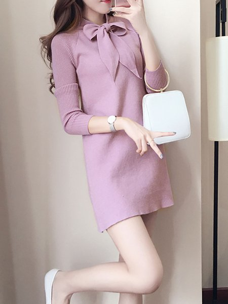 Tie-neck Solid Long Sleeve Knitted Dress