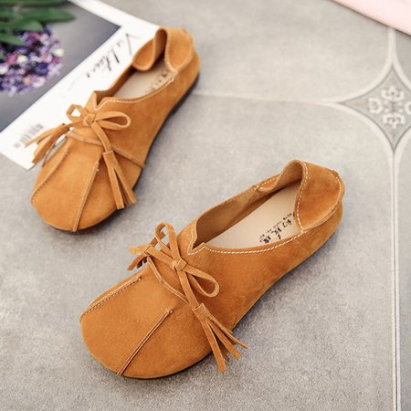 Suede Bowknot Slip On Loafers