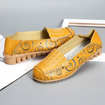 Large Size Pattern Breathable Soft Sole Flat Loafers