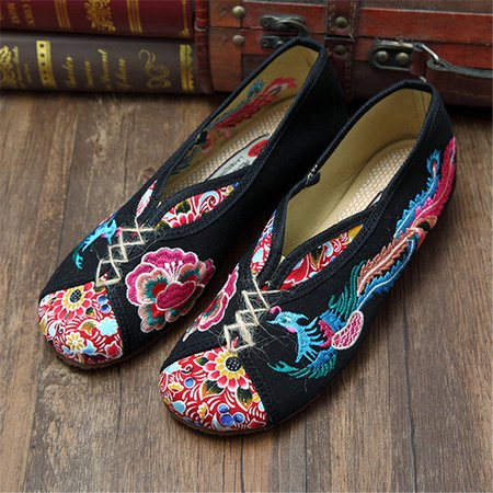 Phoenix Embroidered Peking Vintage Flat Shoes