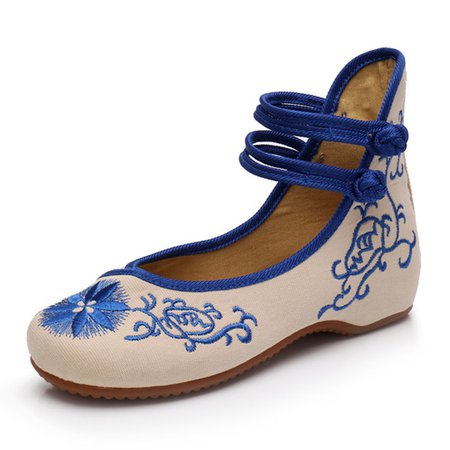 Vintage Style Embroidered Button Flats