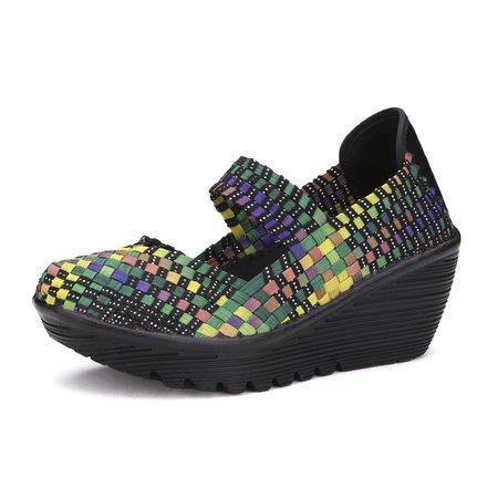 Color Match Elastic Belt Knitting Swing Slip On Platforms