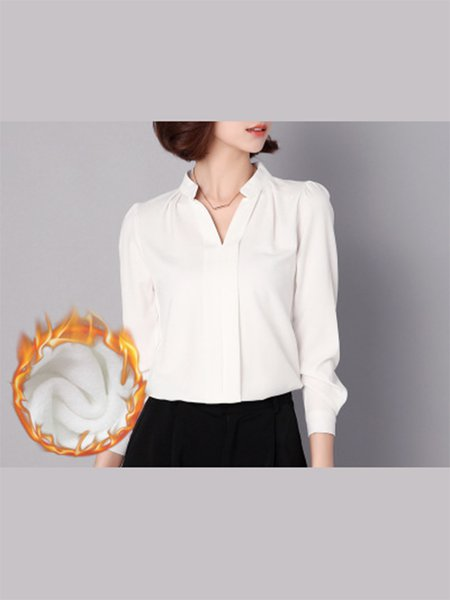 Fleece-lined Long Sleeve V Neck  Blouse