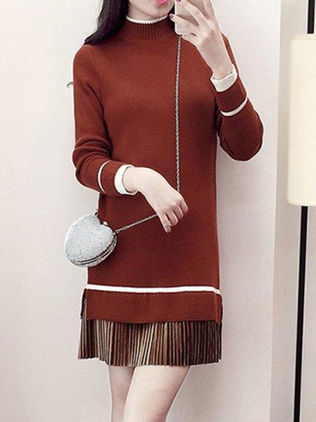 Turtleneck Casual Long Sleeve Dress