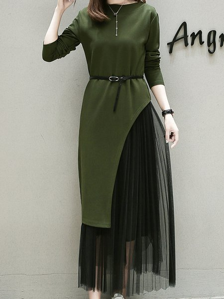 Army Green Casual Crew Neck Solid H-line Dress