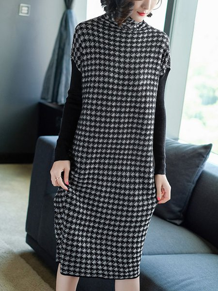 Black Polyester A-line Casual Houndstooth Dress