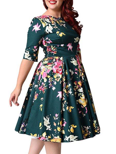 Half Sleeve Bateau/boat Neck Floral Dress