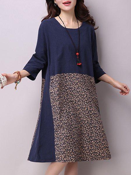Beige Casual Linen Floral Dress
