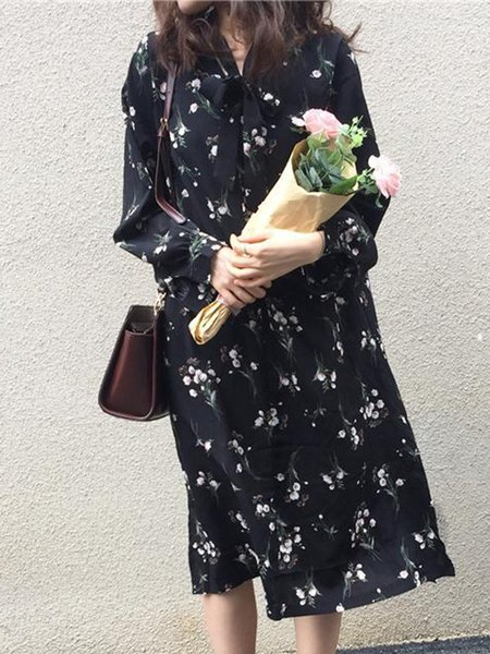 Black Flounce Casual Dress