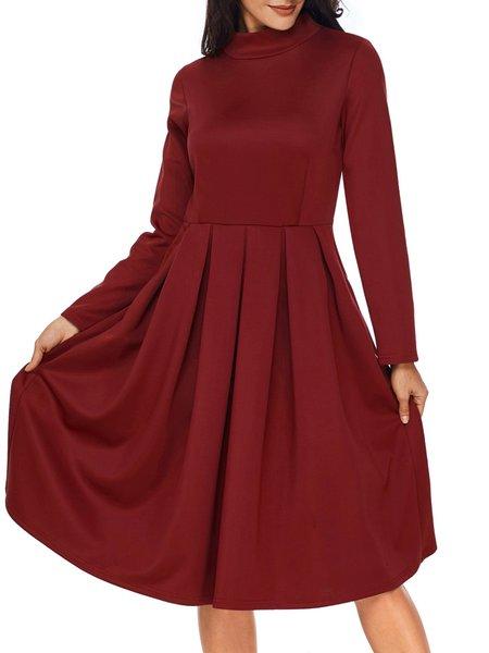 Long Sleeve Turtleneck Casual Dress
