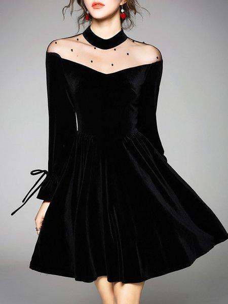 Solid Elegant  A-line Long Sleeve Dress